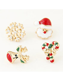 Sweet Green+red Christmas Series Shape Decorated Simple Earring(4pcs)