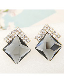 Sweet Gray Diamond Decorated Square Shape Earring