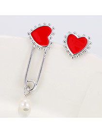 Elegant Silver Color Heart Shape Decorated Pin Asymmetric Earring