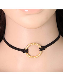 Fashion Gold Color Metal Round Ring Shape Decorated Double Layer Chocker