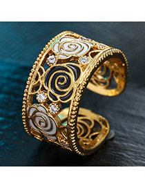 Sweet Gold Color Flower Shape Decorated Hollow Out Opening Ring