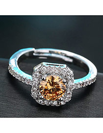 Sweet Champagne Diamond Decorated Simple Adjustable Ring