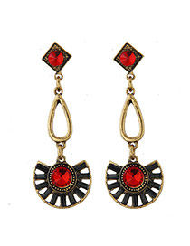 Vintage Red Round&square Diamond Decorated Fan Shape Pendant Earring