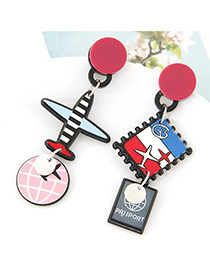 Cute Multi-color Round&airplane Shape Pendant Decorated Cartoon Earring