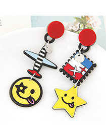 Cute Yellow+red Smiling Face&airplane Shape Pendant Decorated Cartoon Earring