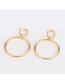 Lovely Gold Color Circle Shape Decorated Hollow Out Design Alloy Stud Earrings