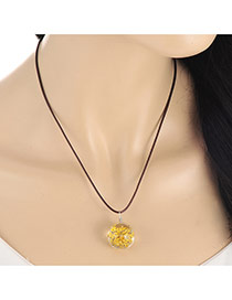 Lovely Yellow Flower Pendant Decorated Simple Necklace