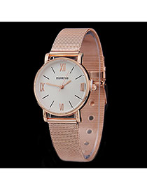 Personality Gold Color Roman Dial Pattern Decorated Metal Stap Design Women Watch Alloy Ladies Watches
