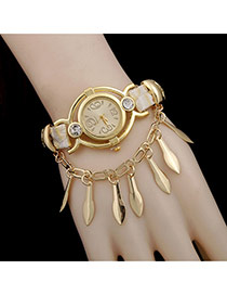 Personality White Leaf Pendant Decorated Hollow Out Watch