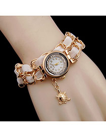 Fashion White Tortoise Pendant Decorated Double Layer Watch
