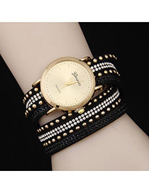Personality Black Diamond Decorated Double Layer Rivet Watch