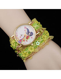 Lovely Green Flower Decorated Simple Watch