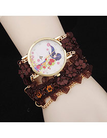 Lovely Brown Flower Decorated Simple Watch