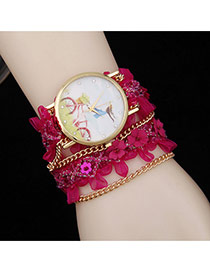 Lovely Plum Red Flower Decorated Simple Watch