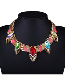 Billiant Multi-color Hollow Out Water Drop Diamond Decorated Short Chain Nacklace