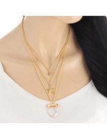 Elegant Gold Color Star&bullet Shape Pendant Decorated Multilayer Necklace