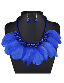 Bohemia Blue Feather Tassel Decorated Short Chain Nacklace Set