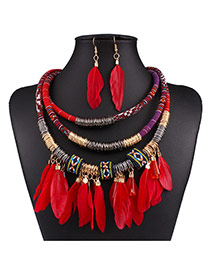 Fashion Red Feather Pendant Decorated Multi-layer Necklace Set