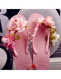 Trendy Pink Flower&pearl Decrated Simple Wedge Beach Shoes