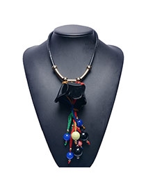 Fashion Black Beads Tassle Pendant Decorated Leather Chain Necklace