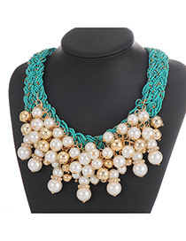 Fashion Gree Pearl Pendant Decorated Weaving Collar Necklace
