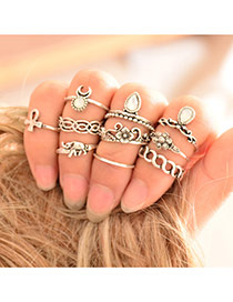 Retro Silver Color Gemstone Decorated Waving Jewerly Sets