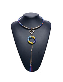 Retro Multi-color Long Tassel Pendant Decorated Short Chain Necklace