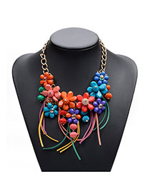 Lovely Multi-color Beads Hand-woven Pendant Decorated Short Chain Necklace