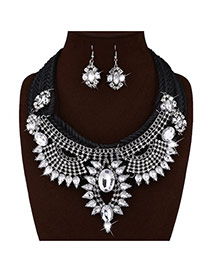 Fashion Black Geometric Shape Decorated?hand-woven?chain?necklace