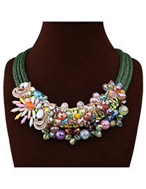 Fashion Multi-color Beads&flower Shape Weaving Decorated Multilayer Necklace