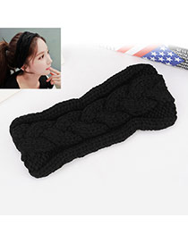 Fashion Black Twist Shape Decorated Pure Color Simple Hair Band Hair Hoop