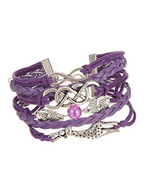 Vintage Purple Owl&giraffe Shape Decorated Multilayer Bracelet