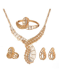 Elegant Gold color Diamond Decorated Hollow Out  Simple Jewelry Sets