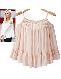 Sweet Pink Pure Color Decorated Off-the-shoulder Strap Falbala Skirt