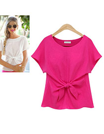 Sweet Plum Red Pure Color Bowknot Shape Decorated Short Sleeve T-shirt