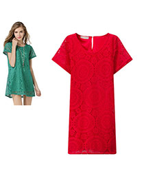Trendy Red Hollow Out Lace Flower Shape Decorated Short Sleeve Dress