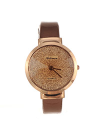 Elegant Coffee Letter Decorated Pure Color Strap Watch