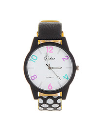 Fashion Black Color Matching Number Decorated Dot Strap Watch