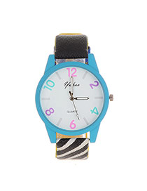 Fashion Blue Color Matching Number Decorated Gridding Strap Watch