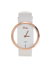 Fashion White Square Dial Plate Decorated Pure Color Watch