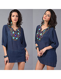 Trendy Nvay Blue Embroiedry Pattern Decorated Three Quarter Sleeve Loose Blouses