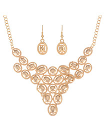 Elegant Gold Color Oval Shape Matching Decorated Hollw Out Jewelry Sets