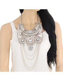 Exaggerate Silver Color Flower Pendant Decorated Tassel Short Chain Necklace