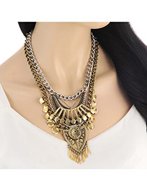 Personality Gold Color Metal Shield Decorated Double Layer Necklace