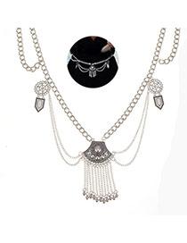 Elegant Silver Color Metal Tassel Pendant Decorated Body Chain