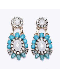 Exquisite Light Blue Oval Gemstone Decorated Flower Shape Earring