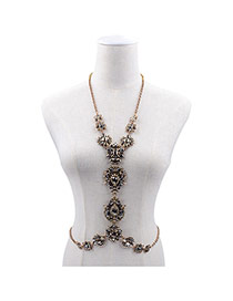 Exaggerated Gold Color Waterdrop Shape Flower Decorated Simple Body Chain
