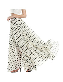 Bohemia White Color Matching Decorated Dot Pattern Beach Skirts