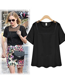 Fashion Black Hollow Out Net Splicing Decorated Short Sleeveless Pure Color Blouse