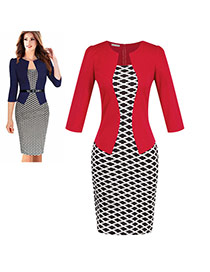Fashion Red Grid Decorated Three Quarter Sleeve False Two-piece Dress(with Belt)